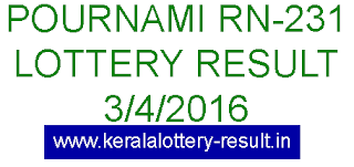 Kerala lottery result, Pournami Lottery result, Pournami RN-231 lottery result, Today's Pournami Lottery result today, 03-04-2016 Pournami Lottery result, Pournami RN 231 lottery result, Kerala Pournami RN 231 lottery result 3/4/2016.