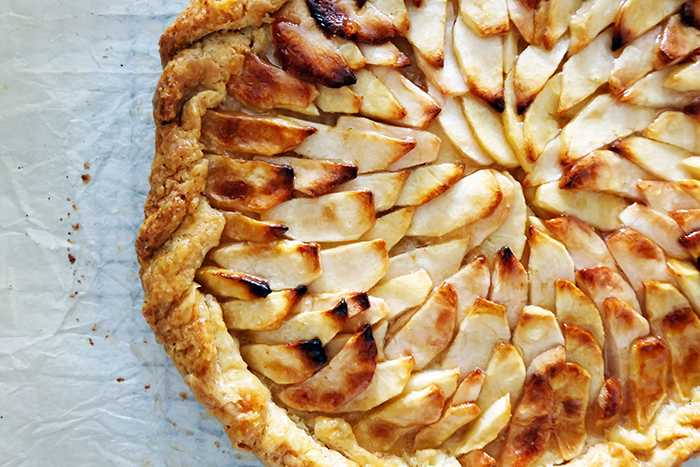 close up of rustic apple tart