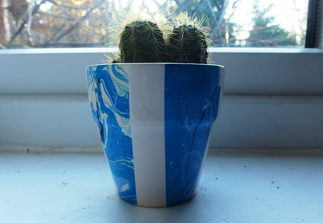 Marbled plant pot with cactus