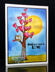 Tiddly Inks, Kecia Waters, Copic markers, owl, Valentine