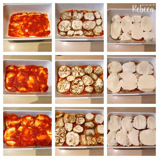 Receta de berenjenas a la parmesana: montaje