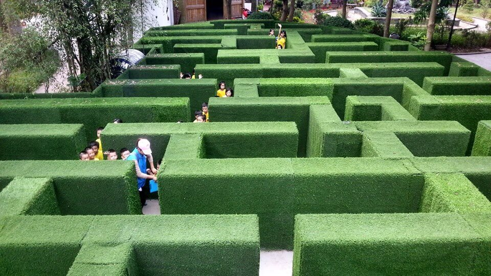 Trò chơi mê cung trong khu sinh thái Cánh Buồm Xanh.