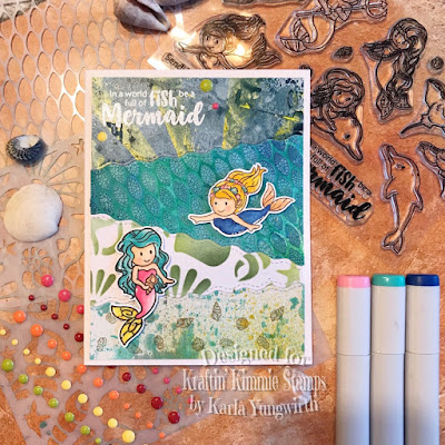 kraftin' kimmie stamps, mermaids, cardmaking, mixed media, dina wakley gloss sprays, texture paste, stencils, copic markers, summer