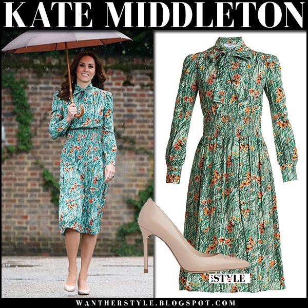 Kate Middleton in green poppy print prada midi dress at Diana Memorial Garden august 30 2017