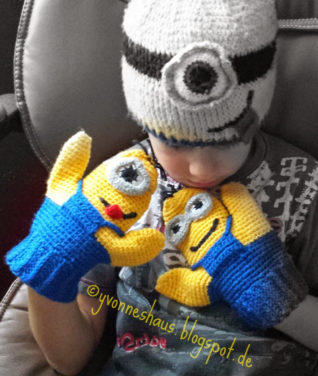 Yvonnes Haus Gehäkelte Minions Handschuhe Bananaaa