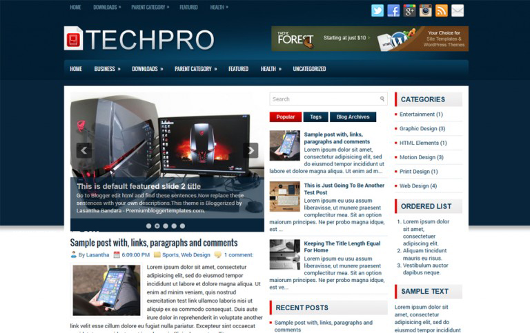TechPro Responsive Blogger Template
