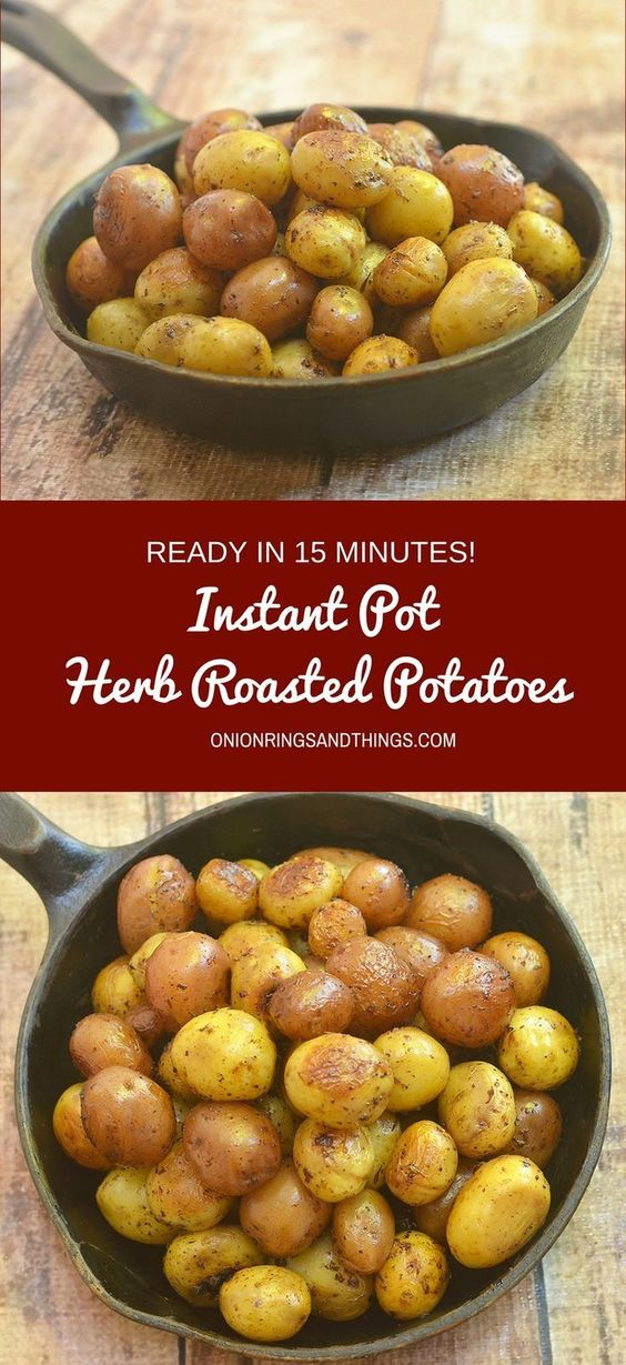 Instant Pot Herb Roasted Potatoes made easy in a pressure cooker. All you need is 15 minutes to turn baby potatoes into crisp, fluffy, and flavorful side dish the whole family will love!