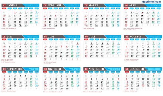 Template Kalender 2019 Vektor lengkap tanggal Hijriyah, Jawa dan Libur Nasional