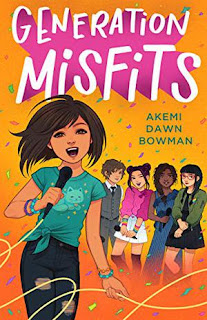 graphic novel style light skinned eleven year old girl holding microphone and singing with four friends singing in the background