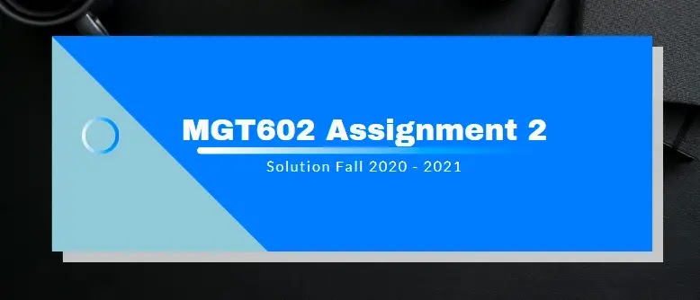 MGT602 Assignment 2 Solution 2021