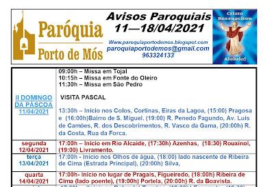Avisos Paroquiais - 11 a 18 de Abril de 2021