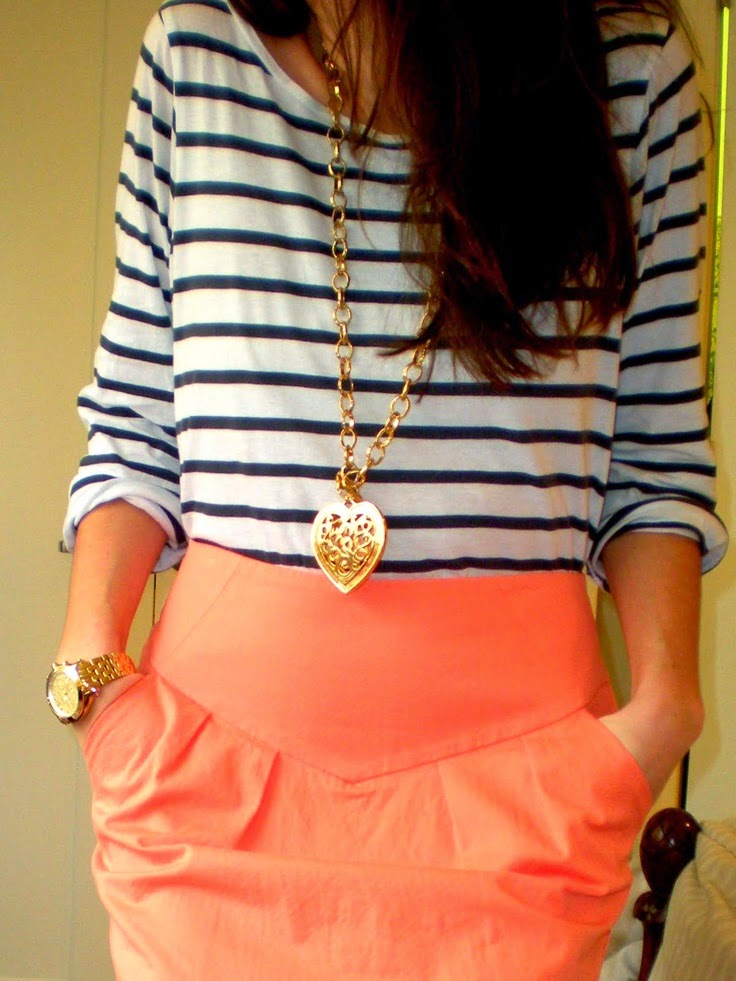 Stripes + peach