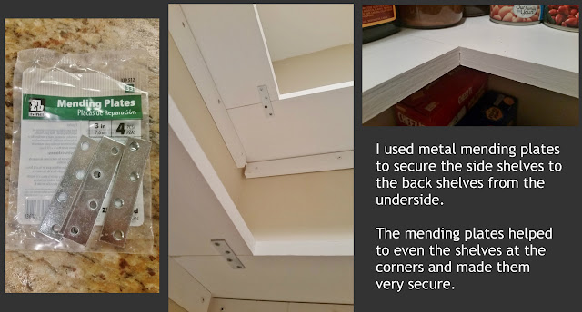 use metal mending plates to secure wood shelving