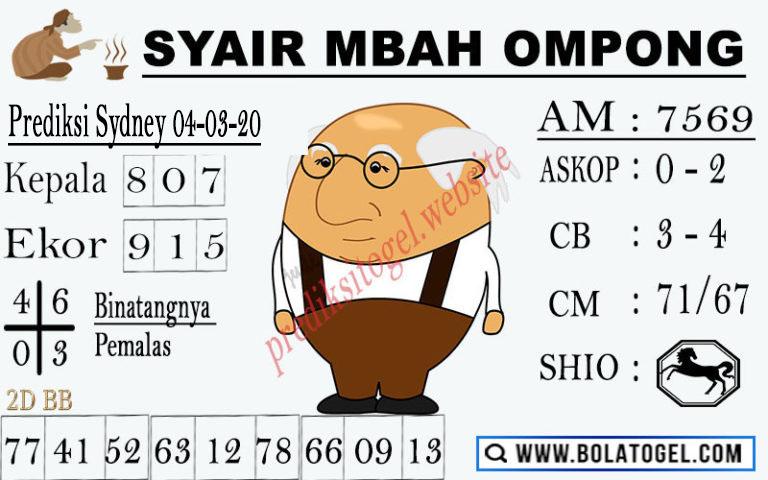 Prediksi Togel JP Sidney Rabu 04 Maret 2020 - Syair Mbah Ompong