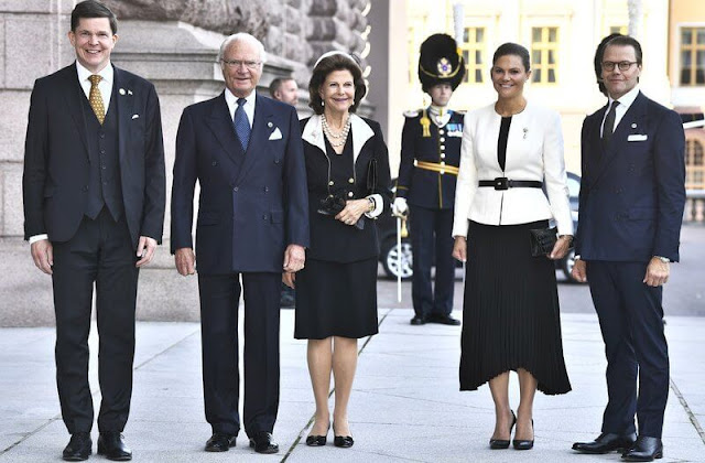 King Carl Gustaf, Queen Silvia, Crown Princess Victoria and Prince Daniel attended the opening of the Riksdag