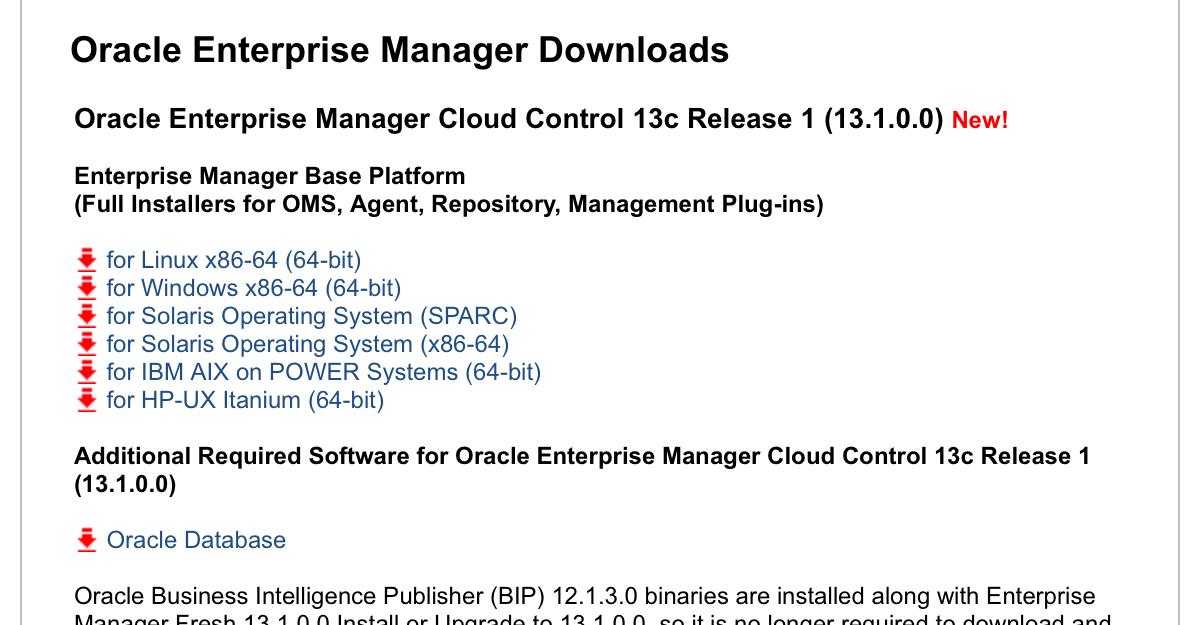 Oracle Enterprise Manager 13c available ~ Dirk Nachbar