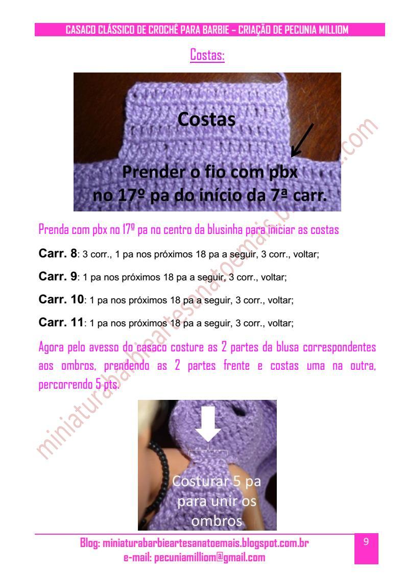 Casaco Clássico de Crochê Para Boneca Barbie Passo a Passo pag. 9