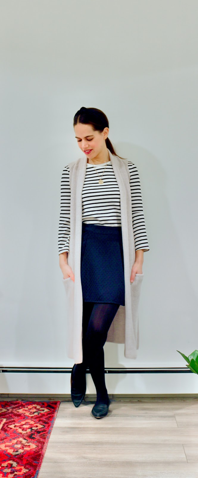 Jules in Flats - Striped Top with Mini Skirt & Duster Cardigan (Business Casual Winter Workwear on a Budget)