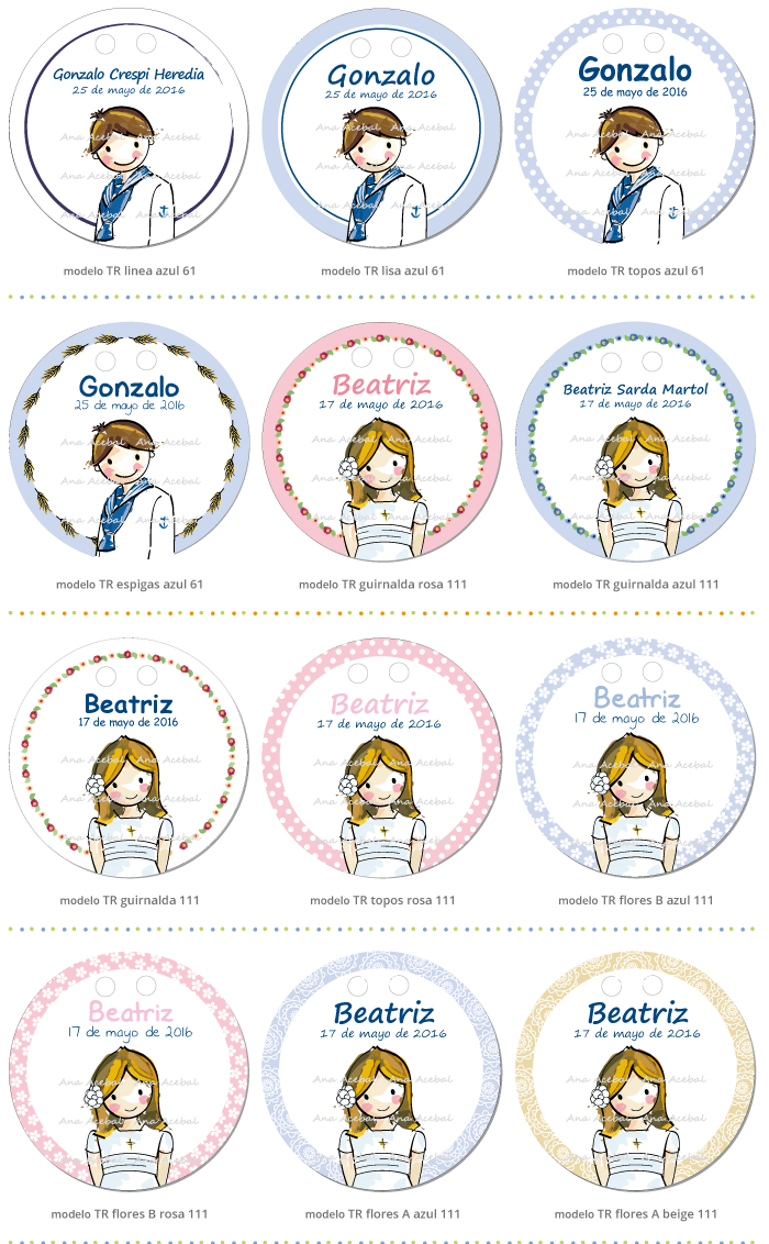 Etiquetas Comunión personalizadas originales