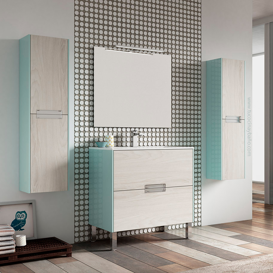 mueble baño azul madera
