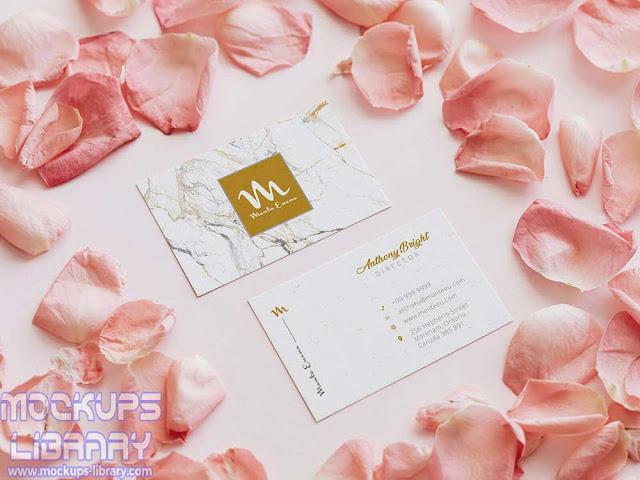pink business card mockup