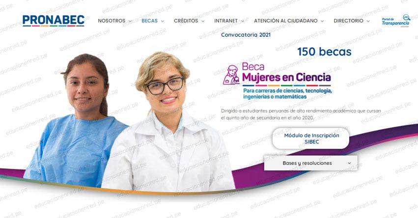 PRONABEC: Inscripción al concurso Beca Mujeres en Ciencia 2021 - www.pronabec.gob.pe