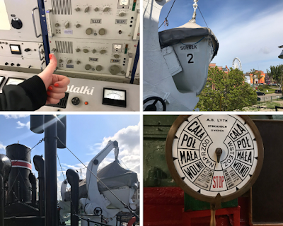 collage of 4 photos from the gdansk maritime museum: me giving a thumbs up in front of some buttons, 2 images from the deck of the Soldek, stop wheel