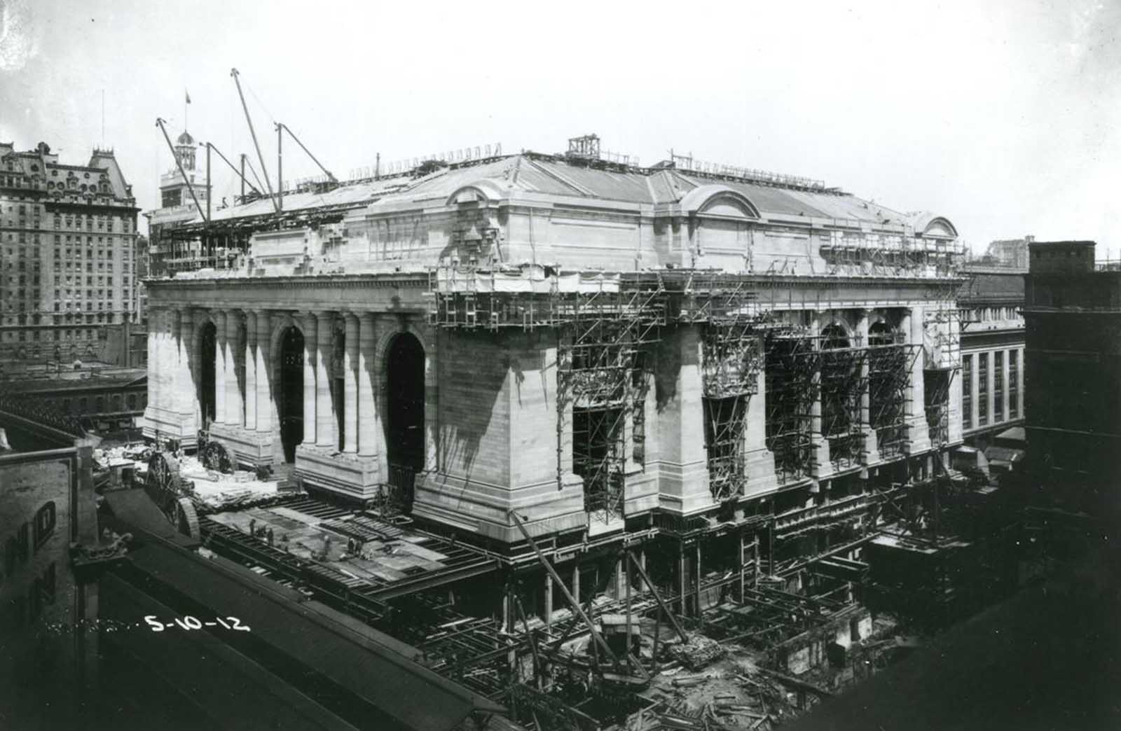 An exterior view of Grand Central Terminal under construction in New York City, on May 10, 1912.