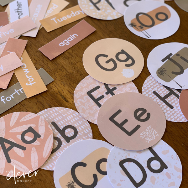 BOHO SUMMER Classroom Word Wall Pack - Simple, modern boho inspired classroom decor with a retro 70's summer feel is just what you need this back to school to create an inviting classroom   you clever monkey