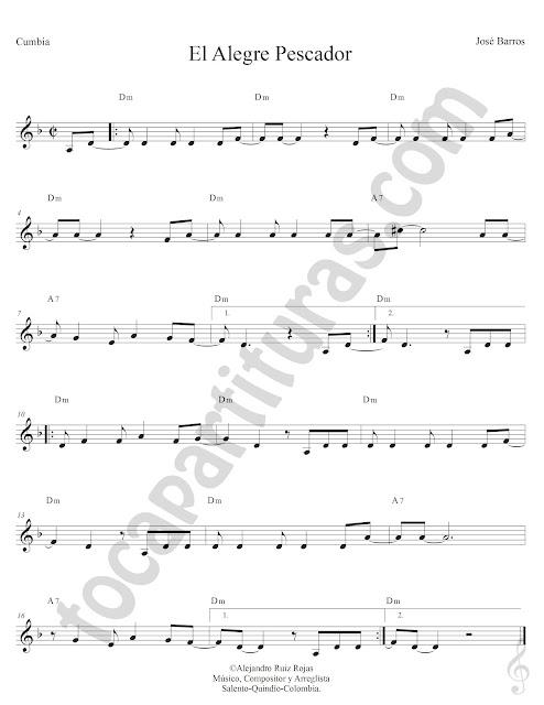 Alegre Pescador Cumbia de José Barros Partitura Fácil con Acordes El Alegre Pescador Easy Sheet Music with Chords