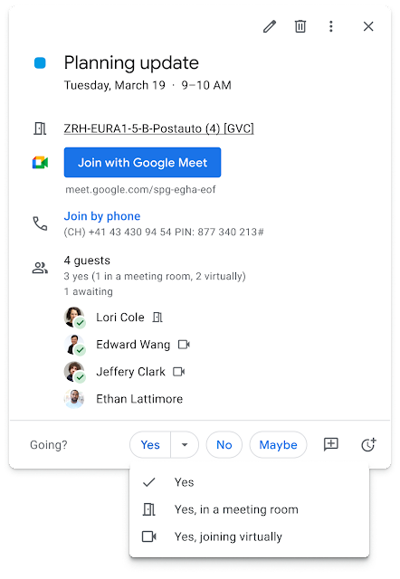 Indicate whether you'll join a meeting virtually or in person on Google Calendar 1