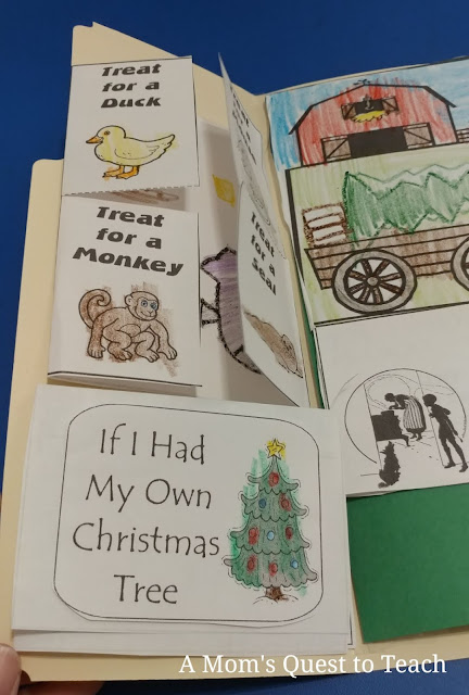 lapbook activities for A Christmas in the Barn - If I Had My Own Christmas Tree