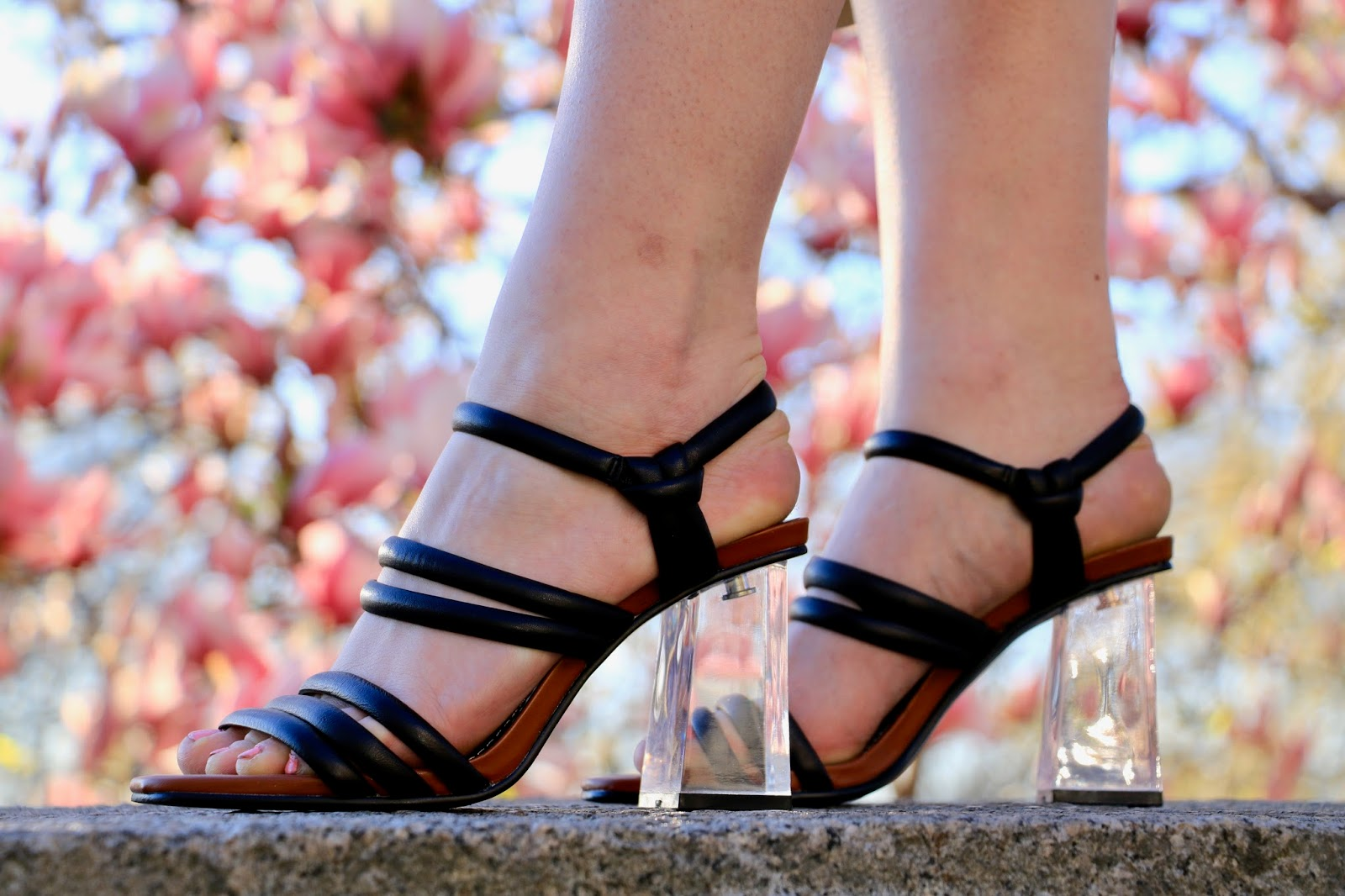 Nyc fashion blogger Kathleen Harper wearing Zara lucite heel shoes