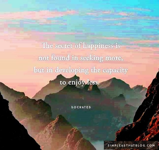 the secret of happiness is not found in seeking more, but in developing the capacity to enjoy less. Socrates #lifequotes