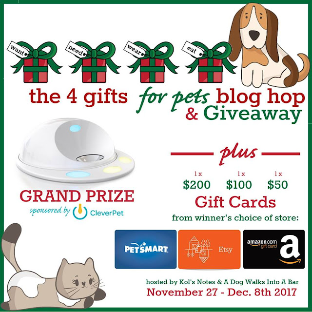 The 4 Gifts for Pets giveaway badge