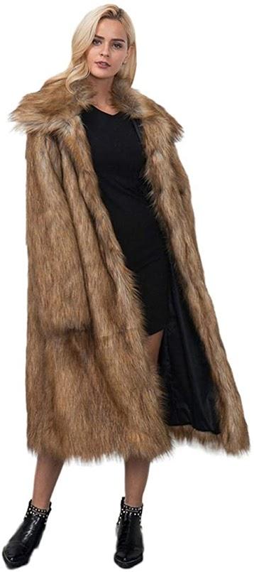 Full Length Faux Fur Coats Jackets for Women