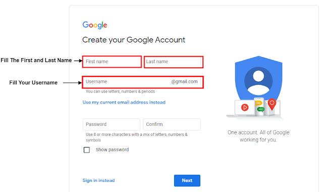 Step #5 यदि आप अपने लिए ईमेल ID बना रहे है तो आप अपना First name and last Name और अपना एक Username बनाकर  fill करना होगा