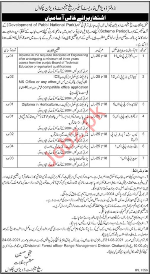 Forest Wildlife & Fisheries Department Management Posts Chakwal 2021