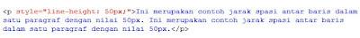 kode html mengatur spasi dengan menggunakan line-height: 50px