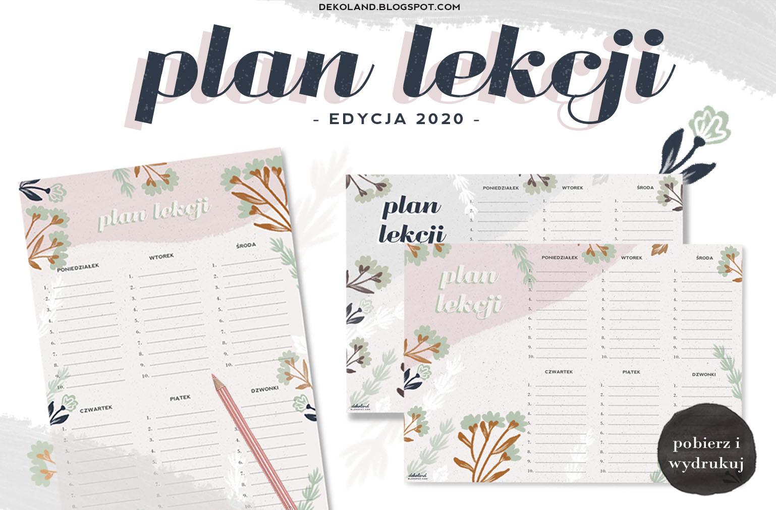 Plan Lekcji do druku - edycja 2020
