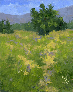 art oil painting spring nature parkway green landscape