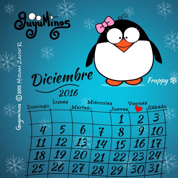 Calendario Diciembre 2016 Guyuminos