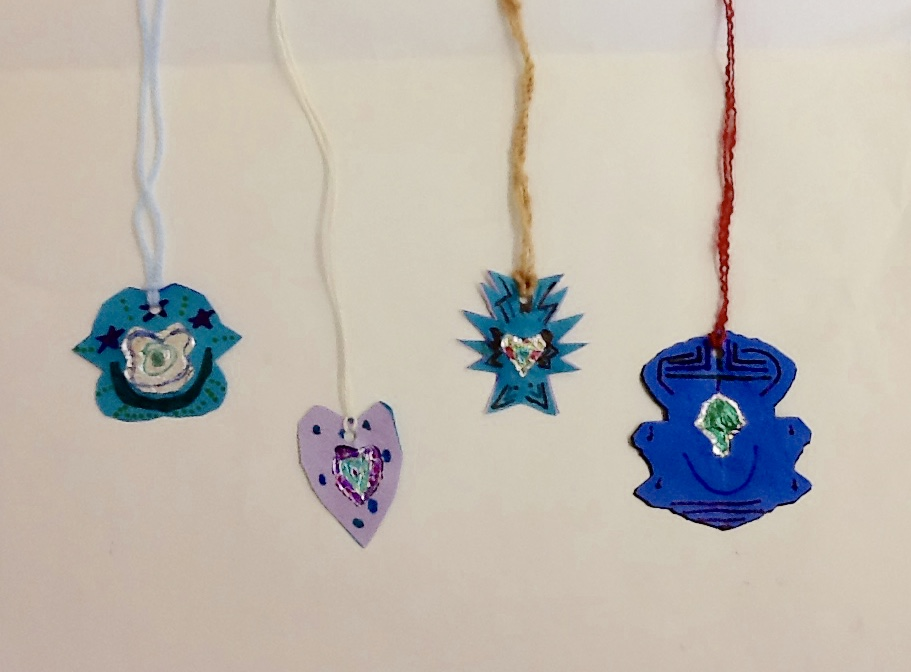 Brackettarts grade two paper pendants students were instructed to design and create there own pendant from paper and aluminum foil they were encouraged to include additional decorations with aloadofball Gallery
