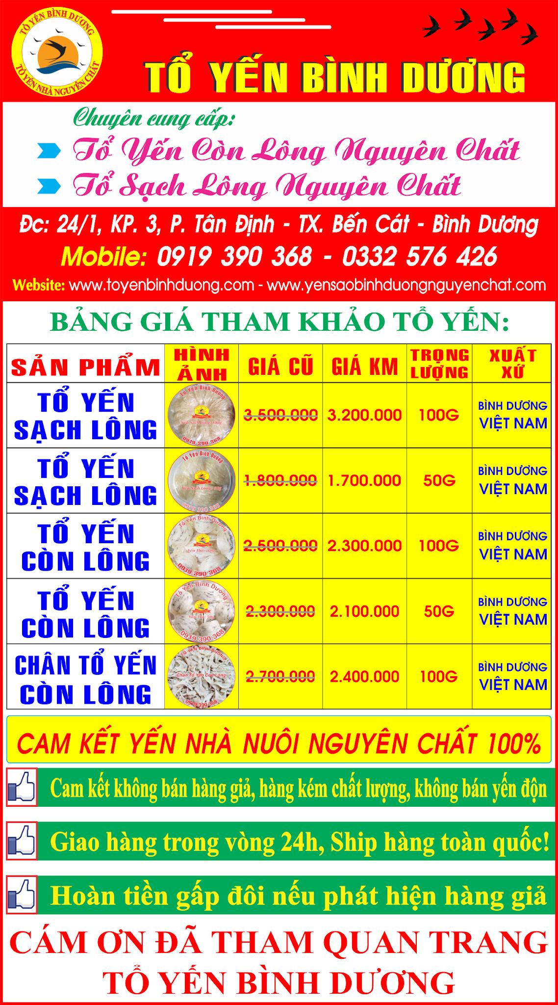 BANG GIA TO YEN BINH DUONG NGUYEN CHAT