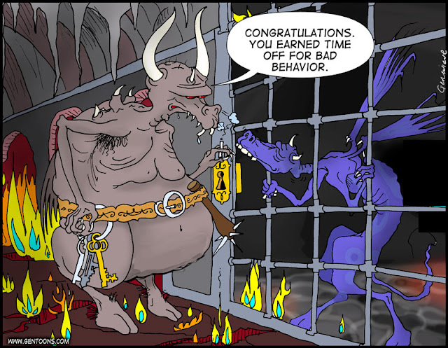 """a hellish cavern filled with fire and gloom. the jailer reaches for a ring of keys, talking to the winged purple dragonlike monster peeing through the bars of a dark cell. The jailer says, """"congratulations, you earned time off for bad behavior."""""""