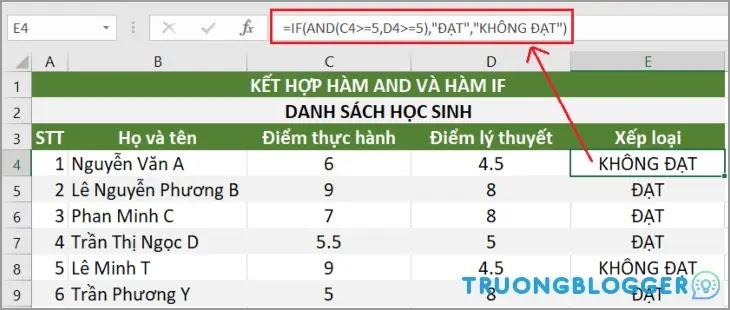 Hướng dẫn cách sử dụng hàm AND trong Excel có ví dụ minh họa