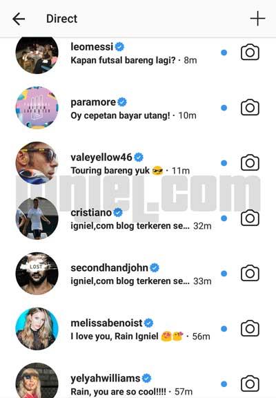 Mengirim DM Instagram Seolah-olah Dari Artis