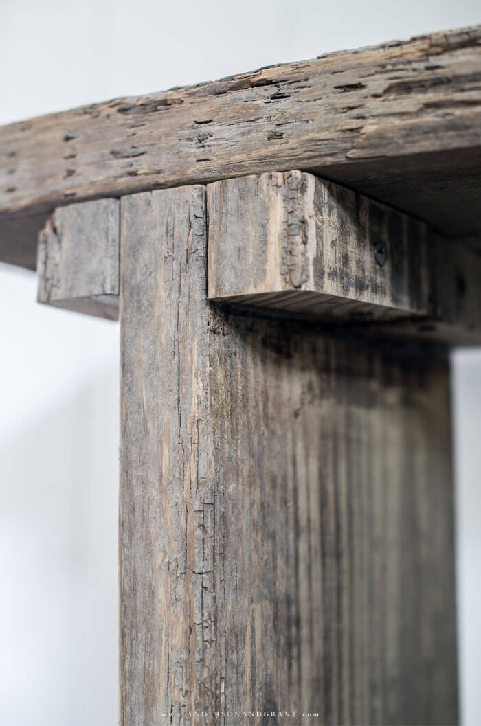 underside of rustic entry table