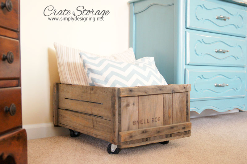 DIY Rolling Crate | learn how to make a vintage crate into a rolling home storage option - simply | #diy #crate #storage