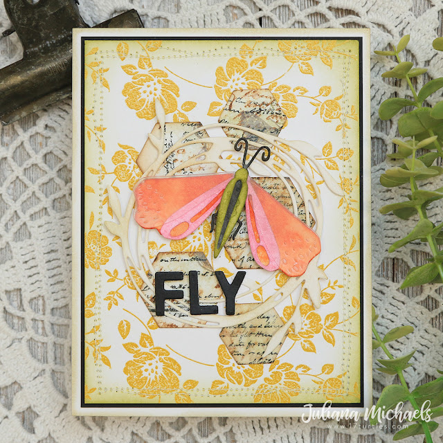 Fly Card by Juliana Michaels featuring Tim Holtz Funky Insects Thinlits